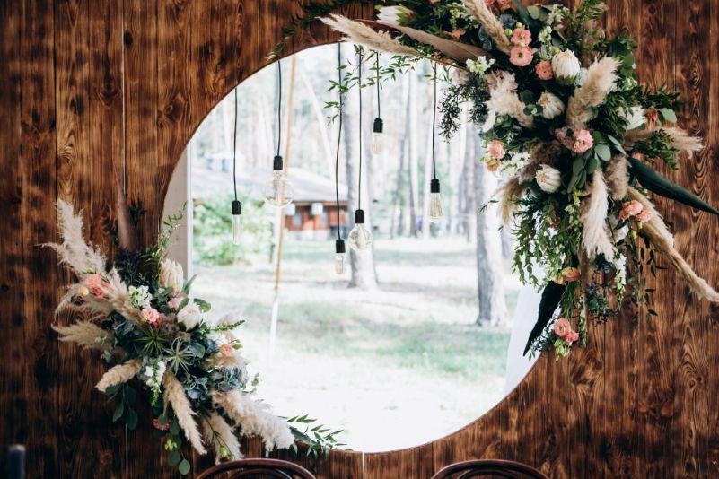 Rustykalna ścianka weselna