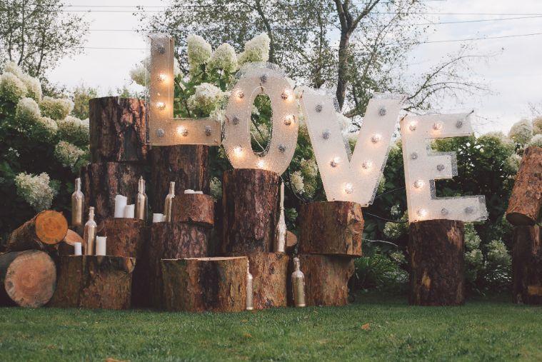 Rustykalne wesele napis świetlny