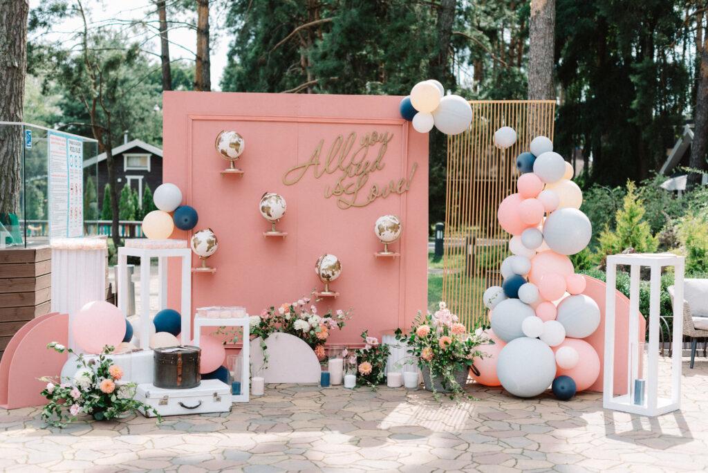Ścianka weselna z balonami