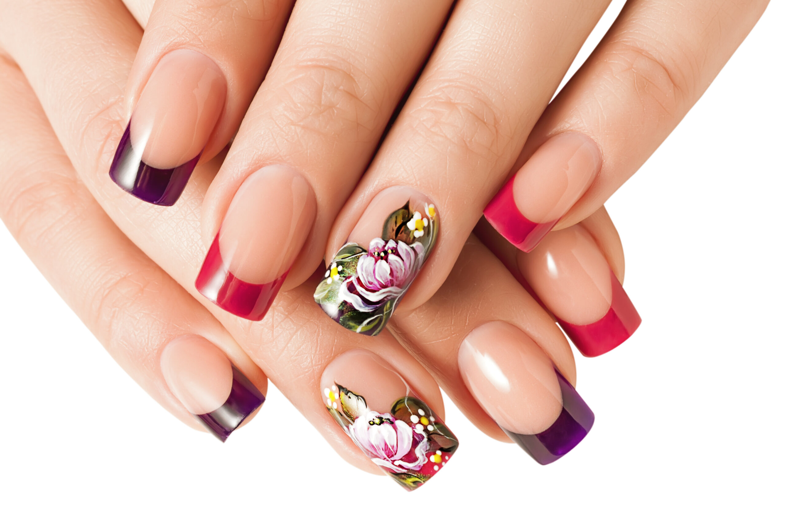 kolorowe ślubne paznokcie w kwiaty