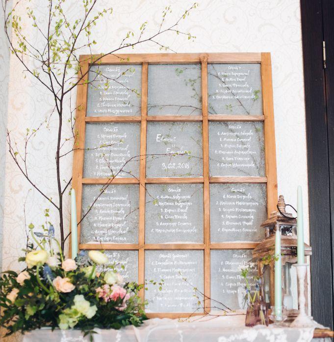 plan stołów weselnych na szybie